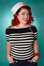 SAILOR TOP - Rockabilly 1950s style Nautical Navy - size 8 Stripy Top PINUP GIRL
