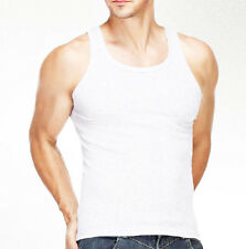 Lot Of 12 Mens White Tank Top A-Shirt Lot Wife Beater Ribbed Undershirt