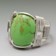 Mohave Green Chalk Turquoise Sterling Silver Wire Wrapped Cabochon Ring