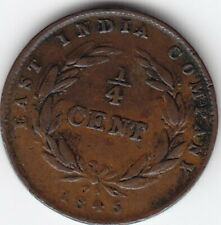 1845 Straits Settlements – East India Co. – 1/4 Cent Coin