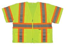 Class 3 Safety Vest High Visibility Reflective Stripes Pockets ANSI Neon Yellow