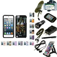 For Apple iPod Touch 5th 6th Gen Design Snap-On Hard Case Phone Cover + Bundle
