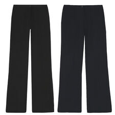 Ladies Womens Boot Cut Trousers Straight Leg Work Pants Office Smart Plain Light