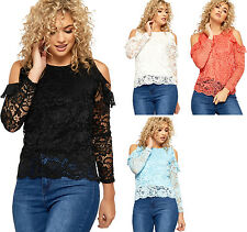 Womens Lace Frill Lined Top Ladies Floral Cut Out Cold Shoulder Long Sleeve 8-14