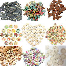50/100pcs Wood Butterfly Handmade 2 Holes Wooden Buttons Sewing Scrapbooking DIY