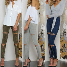 New Sexy Women's Slim Lace Up Leggings Punk Pants Long Tight Bandage Trousers