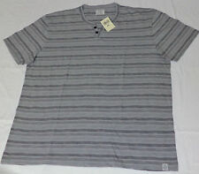 NWT Lucky Brand Short Sleeve Gray & Black Stripe Button Top Shirt    XXL   L1943