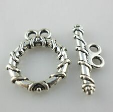 20/200 Sets Tibetan Silver Crafts 2 Hole Clasps Toggle Connectors