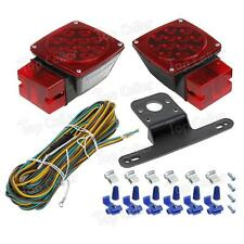 "Left+Right LED SQ Truck Trailer Boat Over 80"" Stop Turn License Tail Lights Kit"