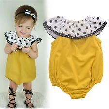 Kid Baby Girl Ruffle Cotton Polka Dot Bodysuit Romper Jumpsuit One-piece Outfits