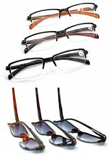 2 PAIRS MIXnMATCH Half Frame Sun Readers+ Reading Glasses Durable Spring Hinges