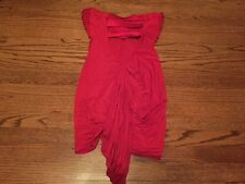 BEBE Sexy Red Tube Top Dress Ruched Built in Bra Size Large Clubwear Must See