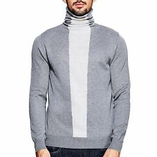 Simple M~XXL Mens Casual Slim  Fitted Contrast Color Cotton Turtleneck Sweater
