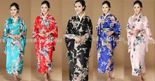 Black blue red pink traditional Chinese Silk Women's Kimono Robe Gown with obi