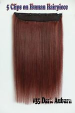 Auburn 150g 16''~26'' 5Clips One Hairpieces Clip In Real Human Hair Extensions