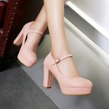Womens High Heels Block Heels Platform Shoes Mary Jane Pumps Ankle Strappy Shoes