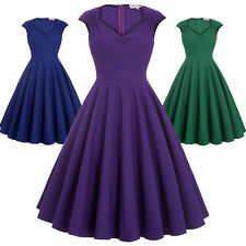Plus Size 50s 60s Vintage Pleated Swing Pinup Dress Housewife Party Evening Gown