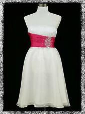 dress190 WHITE & PINK JEWELLED STRAPLESS PARTY SWING PROM COCKTAIL DRESS 8-16