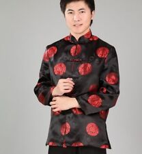 Handsome Chinese men's silk clothing jacket/coat Black SZ: M L XL XXL XXXL