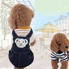 2016 Pet Jeans Striped Sweaters Top Mouse Puppy Rompers Cute Dogs Denim Jumpsuit