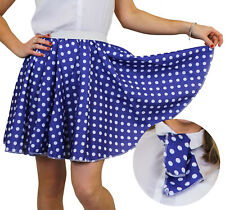 POLKA DOT SKIRT & SCARF BLUE WITH WHITE DOTS 50S ROCK N ROLL FANCY DRESS COSTUME