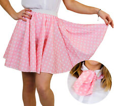 POLKA DOT SKIRT & SCARF PINK WITH WHITE DOTS ROCK N ROLL FANCY DRESS COSTUME