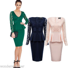 Womens Long Sleeve Pencil Dress Celeb Lace Peplum Party Bodycon Cocktail Evening