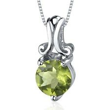 Revoni Refined Charm 1.25 carats Round Cut Sterling Silver Peridot Pendant. Huge