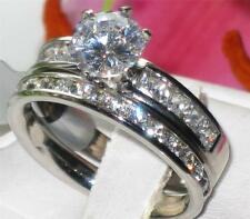 81 stainless STEEL SOLITAIRE ENGAGEMENT RING SIMULATED DIAMOND WEDDING BAND SET