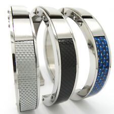 Mens Heavy Stainless Steel Bling Carbon Fiber Polished Open Cuff Bangle Bracelet
