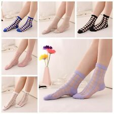 Sexy Women Summer Lace Socks Breathable Mesh Glass Crystal Silk Short Ankle Sock