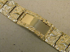 Men's Yellow Gold Plated Nugget Plain ID Bracelet 9in Inch Long 20mm Wide New
