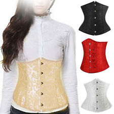 Gothic Lace Up Boned Underbust Corset Waist Cincher Bodyshaper Bustier Body Tops