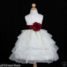 IVORY/BURGUNDY WINE HOLIDAY TIERED WEDDING FLOWER GIRL DRESS 12M 18M 2 4 6 8 10