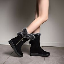 New Womens Nubuck Leather Short Plush Side Zipper Boots Low-Heeled Shoes GT-H617