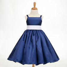 Navy Blue Christmas Spaghetti Straps Flower Girl Dress 12-18M 2 4 5/6 8 10 12