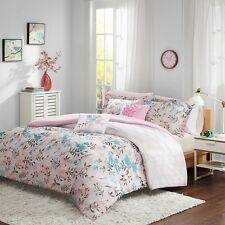 Modern Chic Pink & Teal Floral Comforter Pillow Shams with Decorative Pillows