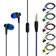 Braided 3.5mm Jack Wired In-Ear Earphone Stereo Bass Headset Earbud With Mic Lot