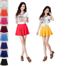 Womens Short Stretch high Waist Skirt Plain Skater Flared Pleated Mini Dresses