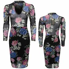 Ladies Floral Long Sleeve V Neck Choker See Through Mesh Top Bodycon Dress