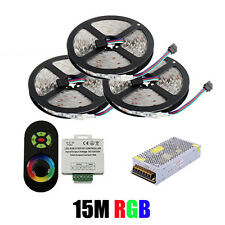 15M 5050 RGB SMD 60Leds/M Flexible Led Strip +RF Dimmer Remote Controller +Power