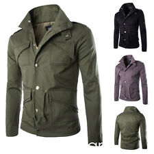 New Mens Military Coat Casual Trench Jacket Overcoat Cotton black green greey