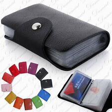 26 Slots Genuine Real Leather Wallet Business ID Credit Card Holder Case Pocket