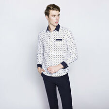 Spring New Men Boy Shirts Long Sleeve Single-breasted Summer Dot Print Tops Tee