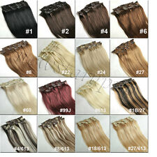 14''-30'' Full Head Clip in Remy Hair Extension 100% Real Human Hair Any Color