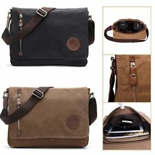 Mens Vintage Canvas Messenger Shoulder Sling Bag Laptop Travel Crossbody Satchel