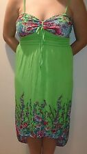 NEW Women's Long Sundress - GREEN Floral Print, Shoulder Straps - Size Med-XXL