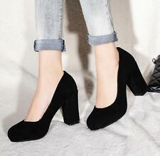 New Genuine Leather Pumps Comfort Thick High Heel Lady Shoes AU All Size s878