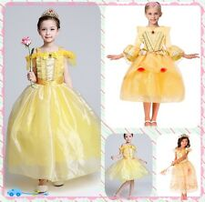 Kids Princess Belle Dress Beauty and the Beast Cosplay Costume Fancy Party Dress