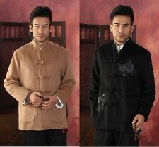 Black brown Chinese Men's thickening jacket coat Cheongsam  Sz: M L XL XXL XXXL